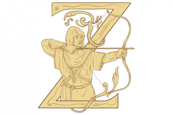 Medieval Archer Aiming Bow and Arrow Letter Z Drawing example image 1