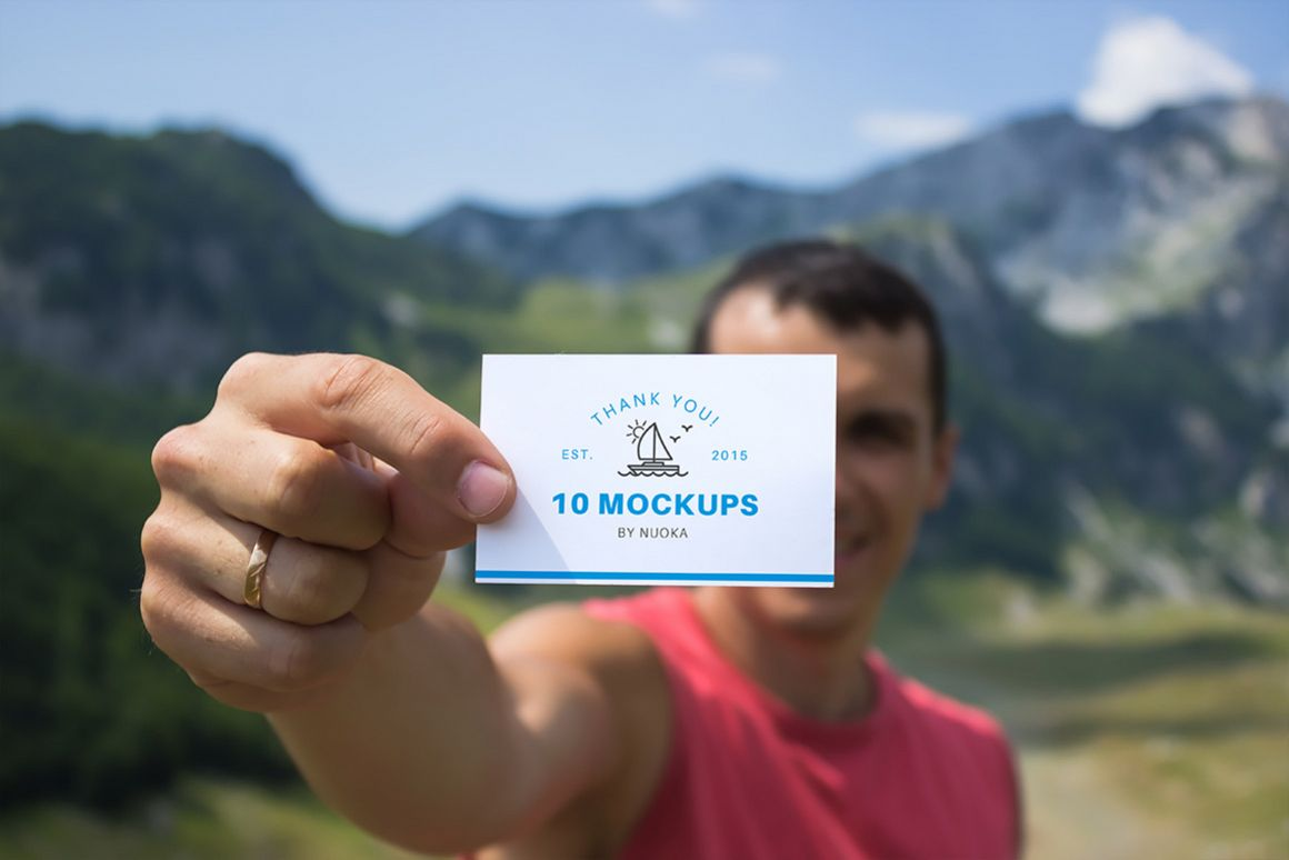 Business cards mockup 10 | Travel Mockup Collection Set 1 example image 1