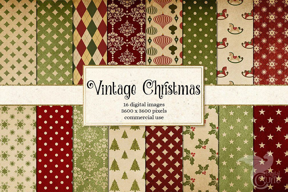 Vintage Christmas Digital Paper example image 1