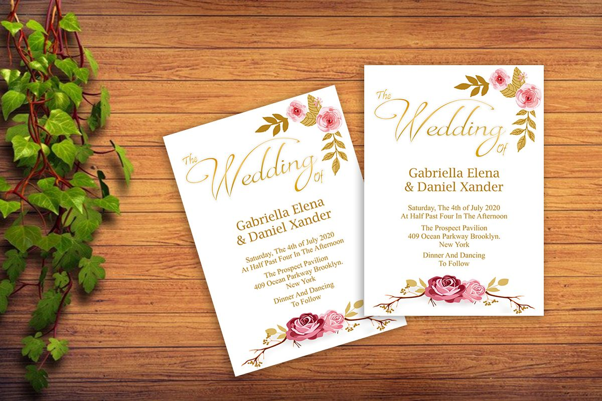 Gold, Floral Wedding Invitation Templat | Design Bundles