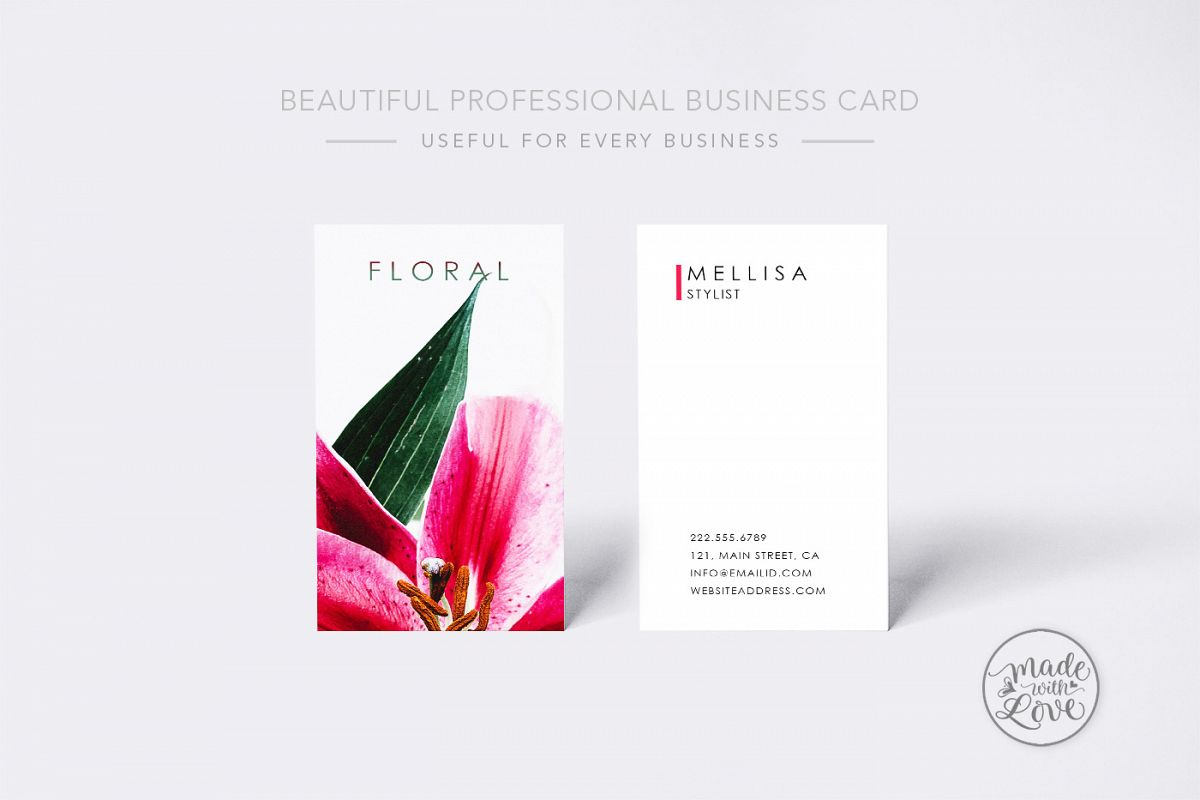 Beautiful Floral professional business card example image 1