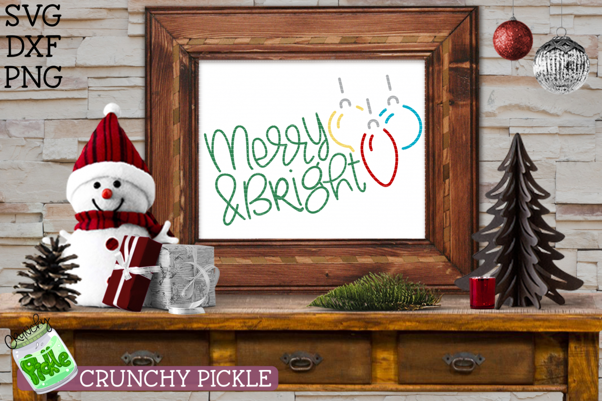 Merry Bright Christmas Ornaments Svg