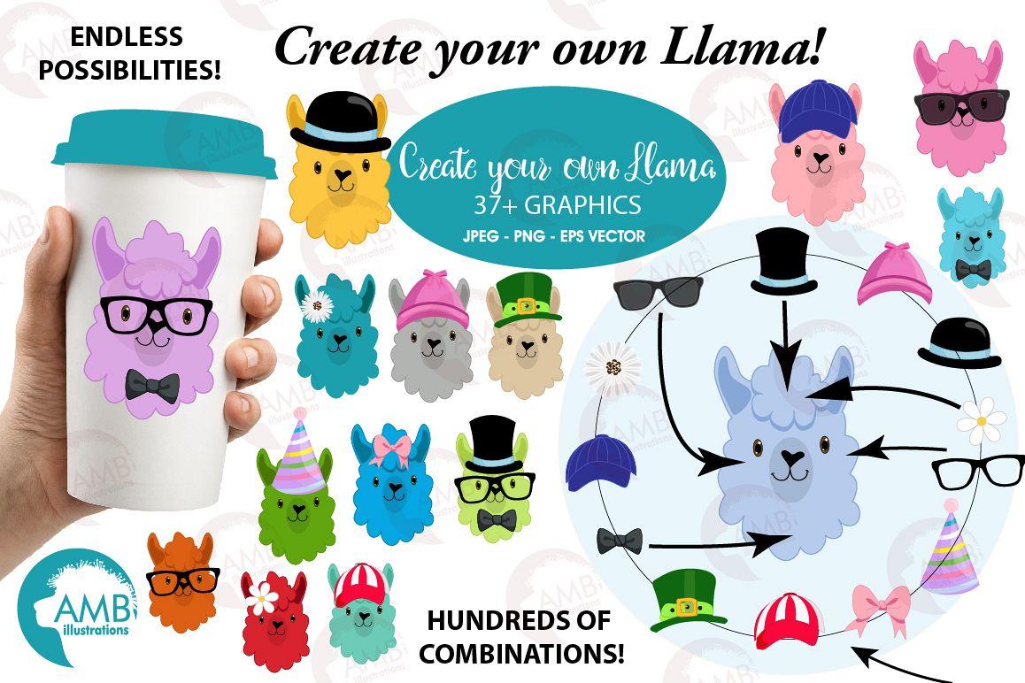 Create your own LLama, DIY Llama Funny Faces clipart, graphics, illustrations, AMB-2376 example image 1