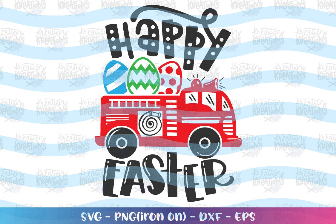 Easter svg Firetruck easter eggs svg Fire engine truck cute example image 1