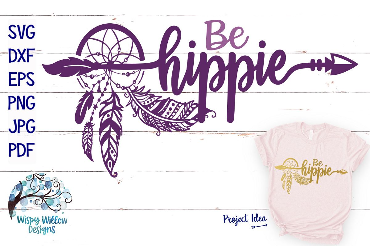 Be Hippy SVG | Dreamcatcher with Feathers | SVG Cut File example image 1