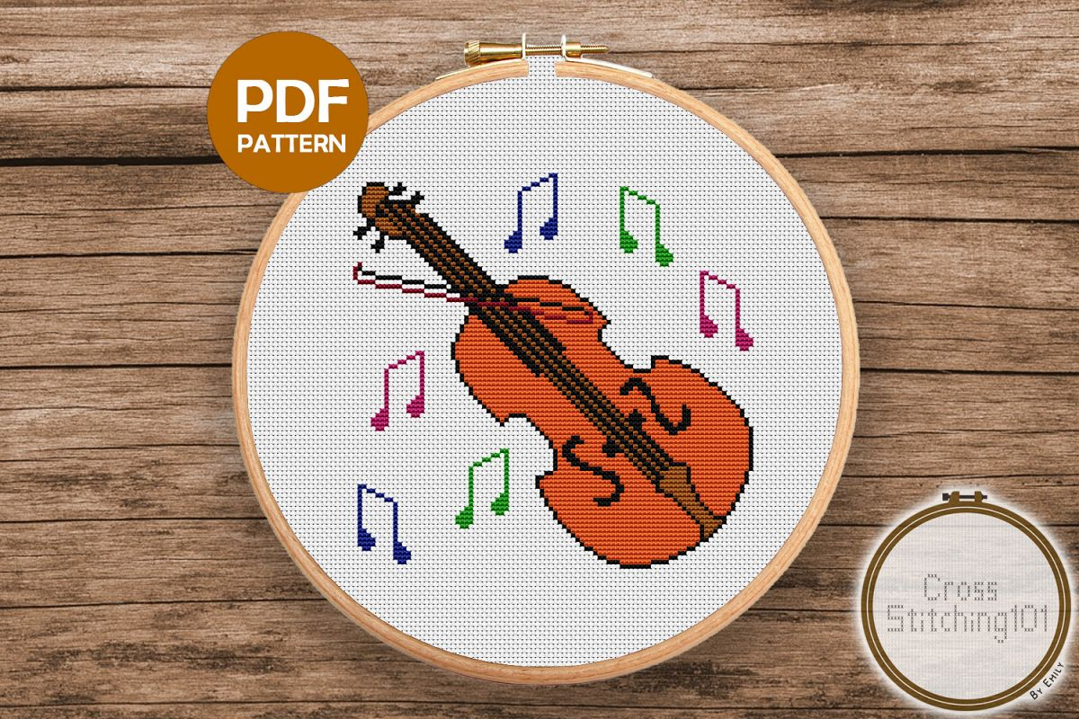 Violin Cross Stitch Pattern - Instant Download PDF example image 1