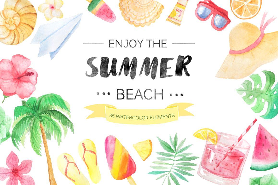 watercolor beach set by font bundles st design bundles