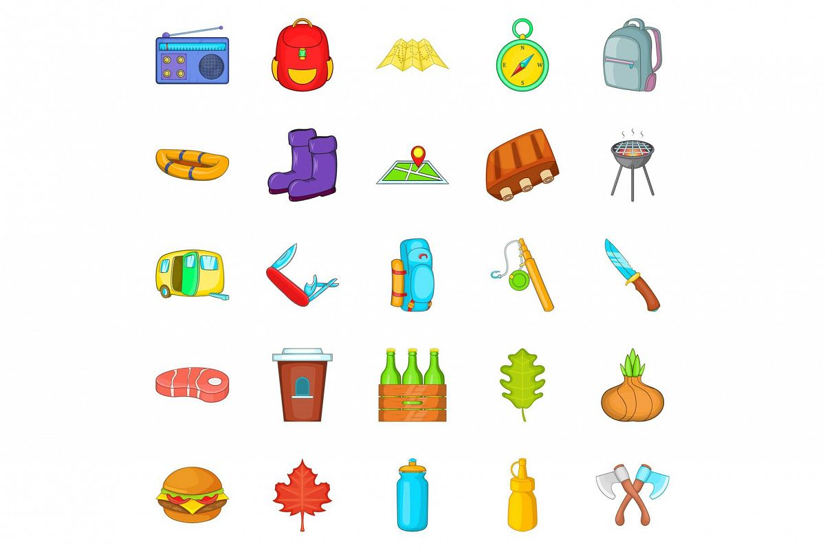 Tourist places icons set, cartoon style example image 1
