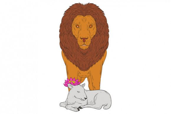 Lion Standing Over Lamb Lotus Flower Drawing example image 1