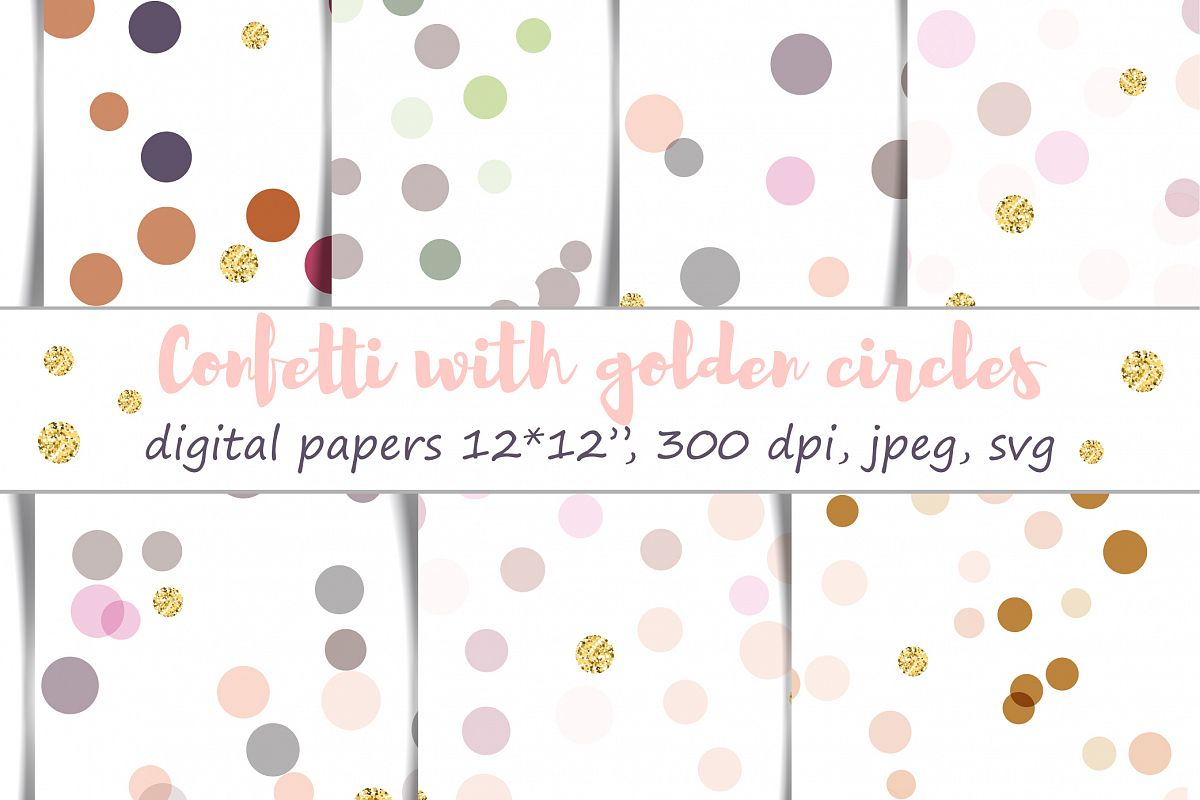Confetti with golden circles Digital Paper : 7 festive patterns, 12 by 12 inch, jpeg and svg, 300 dpi, pastel colors with faux gold elements example image 1