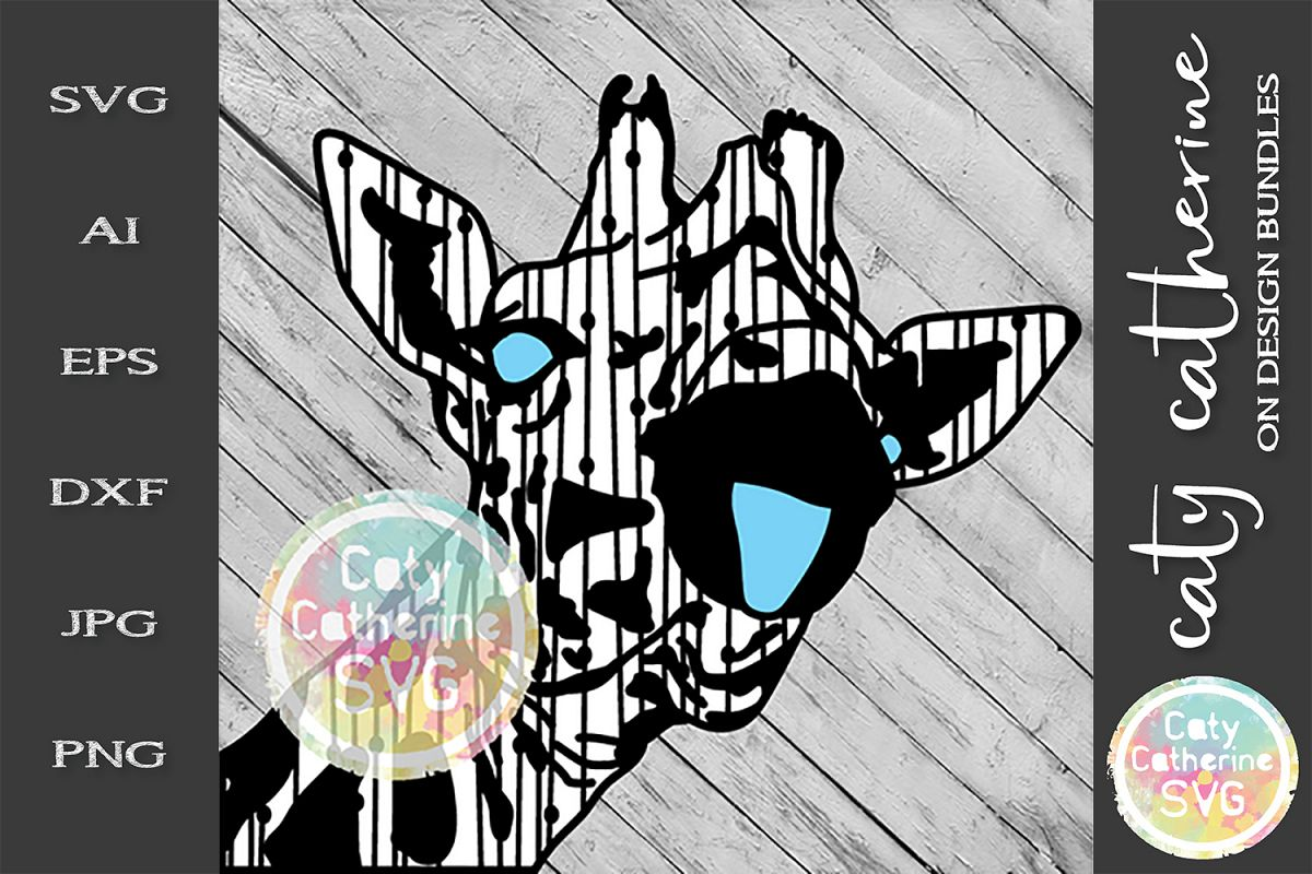 Giraffe Head Tongue Out SVG example image 1
