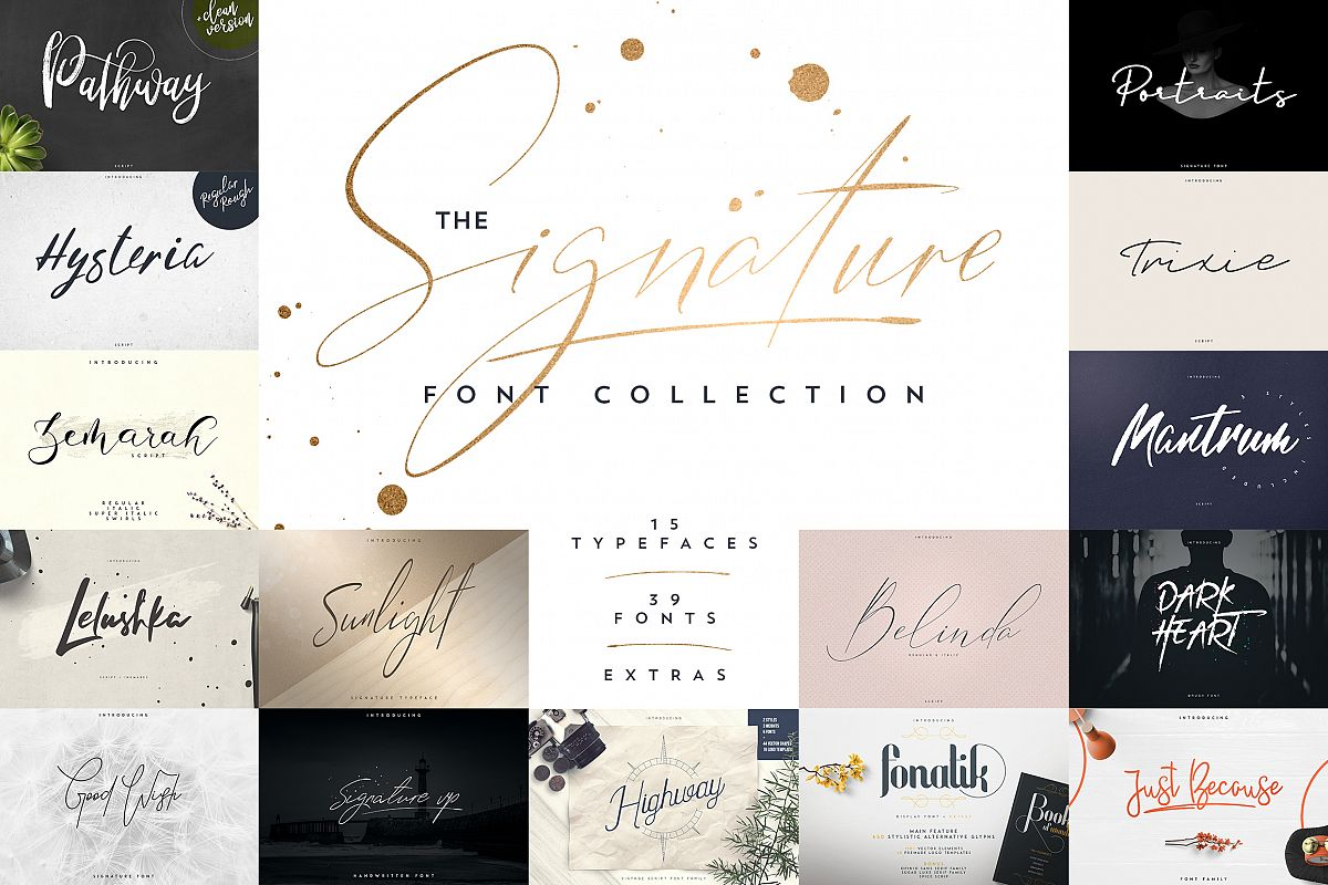 Signature font collection 15in1 example image 1