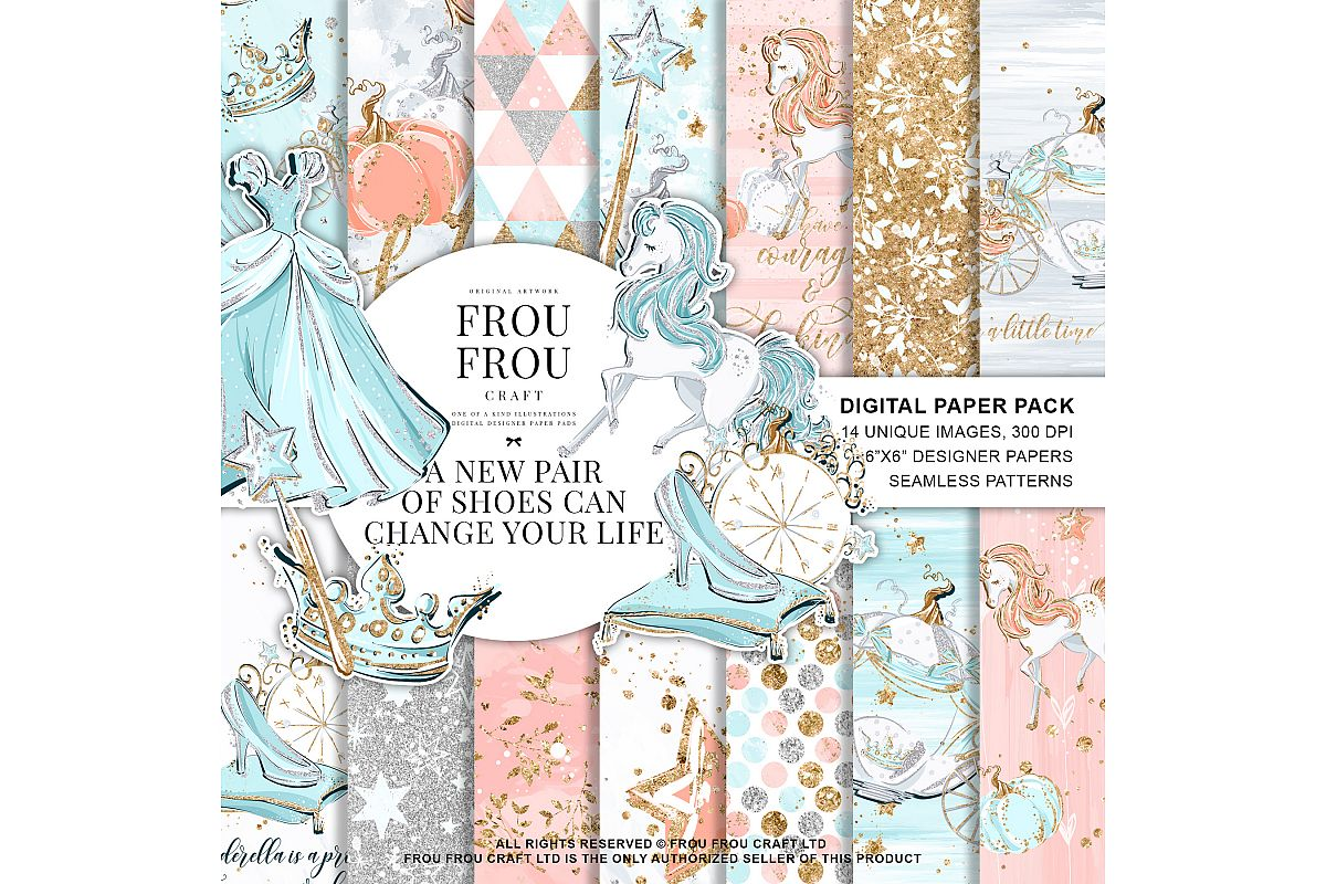 Princess Fairy Tale Gold Glitter Paper Pack example image 1