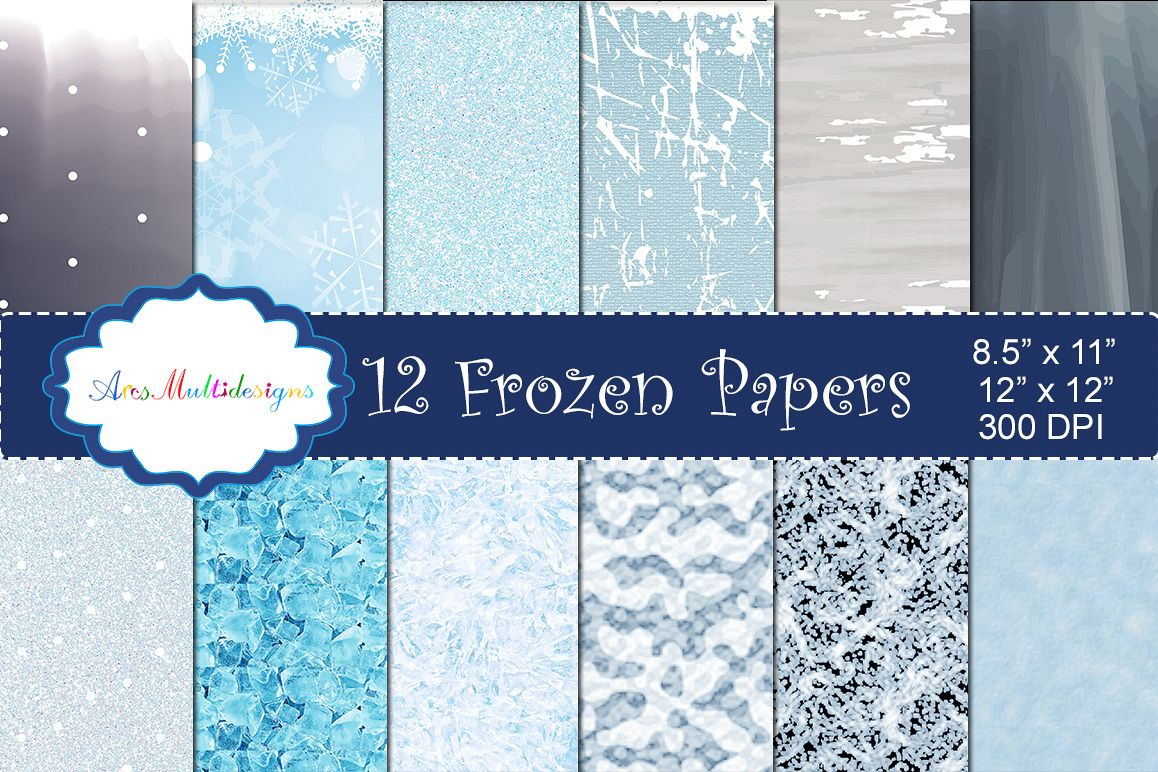 Frozen christmas digital pattern / frozen christmas paper / digital papers / gift wrapper / high quality digital set 12 x 12 example image 1