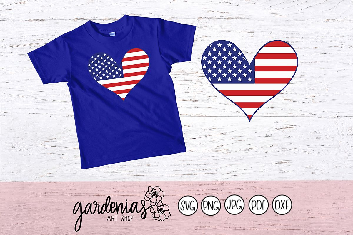 USA Flag Heart example image 1