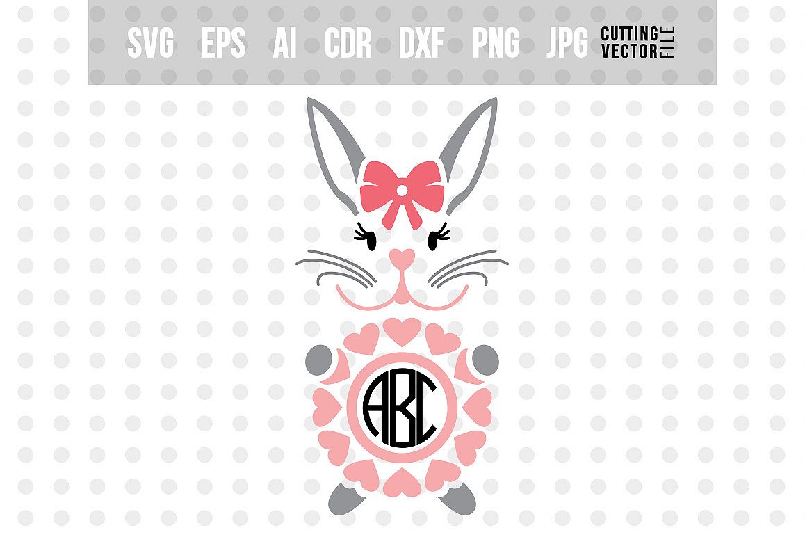 Bunny Monogram - Easter SVG example image 1