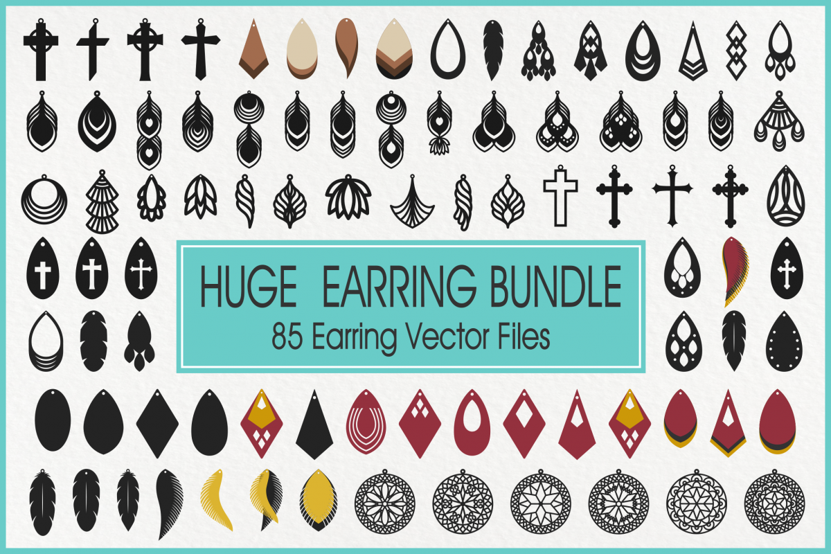 Earrings Svg, Faux Leather Earrings Svg, Teardrop Earrings example image 1