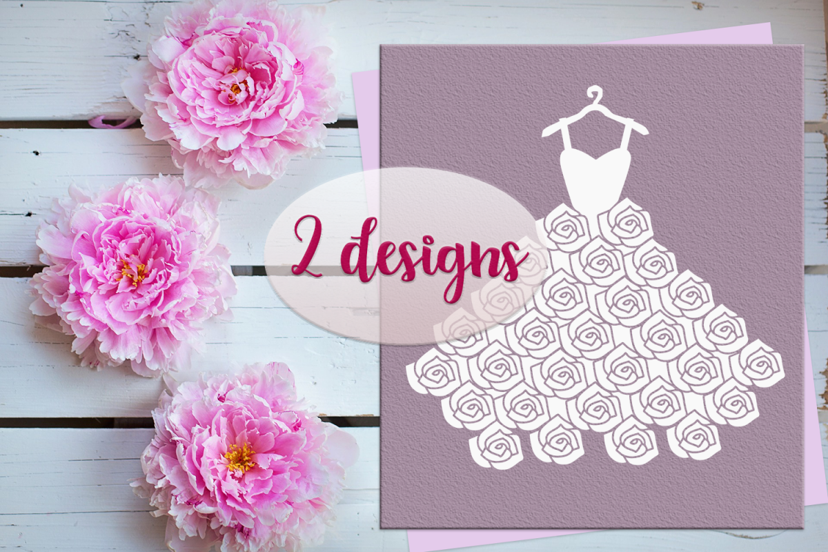 Wedding Dress SVG PNG EPS DXF example image 1