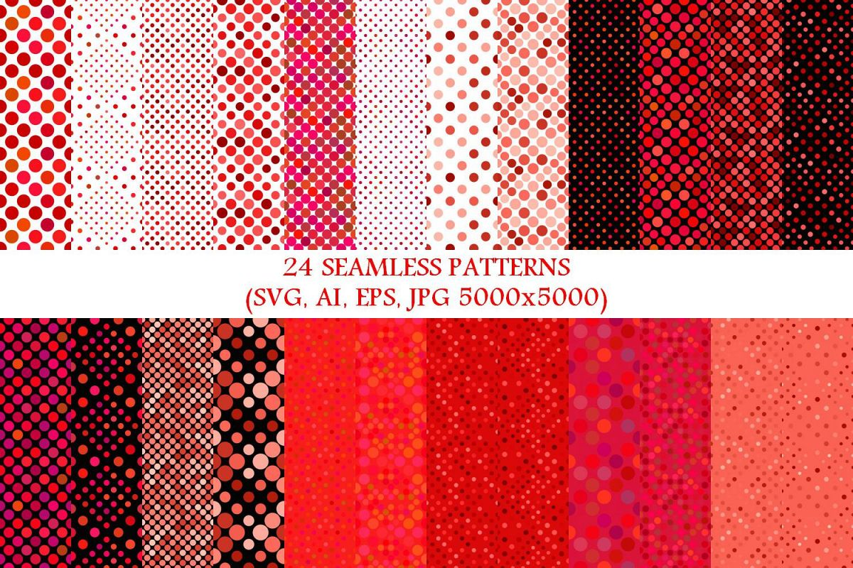 24 Seamless Red Dot Patterns example image 1