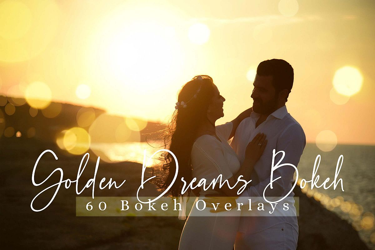 60 Golden Dreams Bokeh lights Effect Photo Overlay example image 1