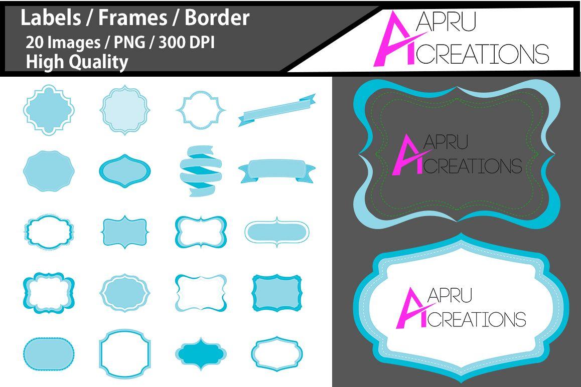digital frames clipart / light blue label vector cut file SVG / label SVG / frames SVG/ border / printable high quality designs / hand drawn frames example image 1