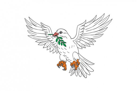 Dove With Olive Leaf Drawing example image 1