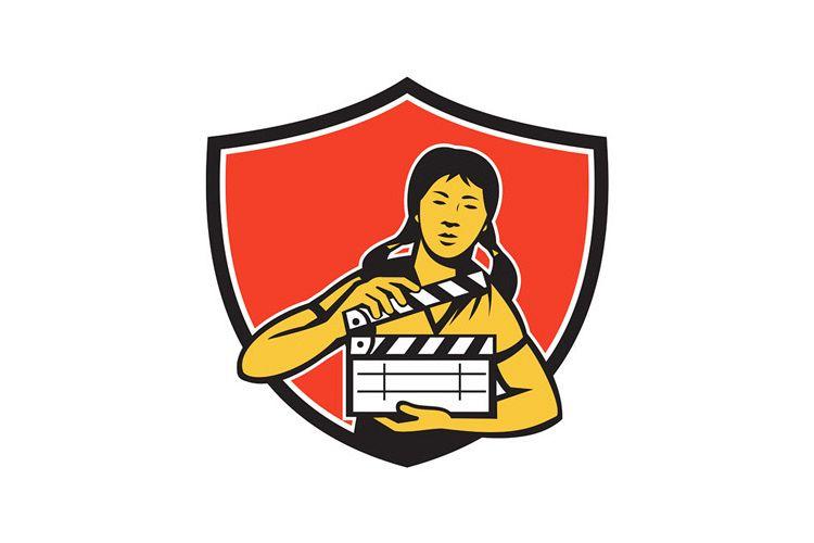 Asian Woman Movie Clapper Shield Retro example image 1
