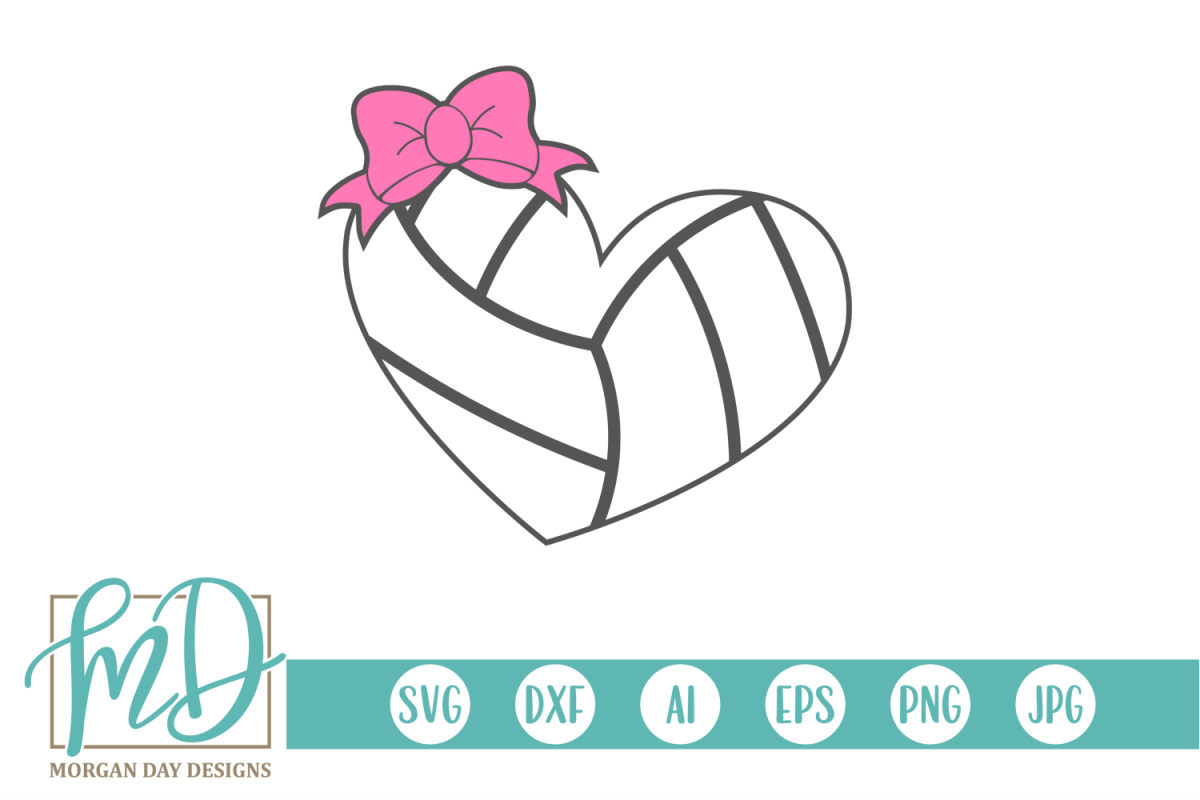 Volleyball Heart with Heart SVG, DXF, AI, EPS, PNG, JPEG example image 1