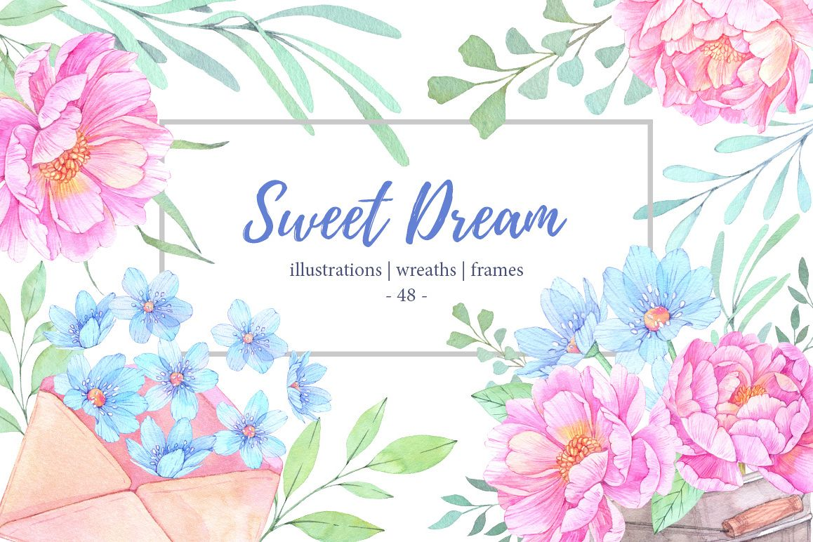 Sweet dream. Watercolor set example image 1