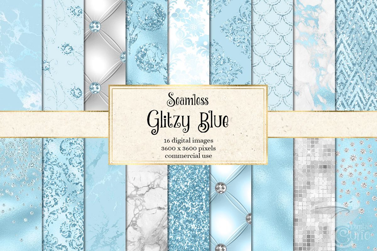 Glitzy Blue Digital Paper example image 1