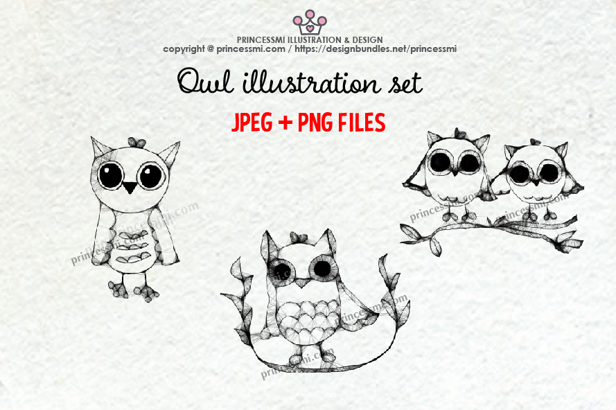 OWL illustration clipart set example image 1