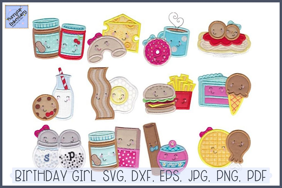 Food Duos Applique - 12 Machine Embroidery Designs example image 1