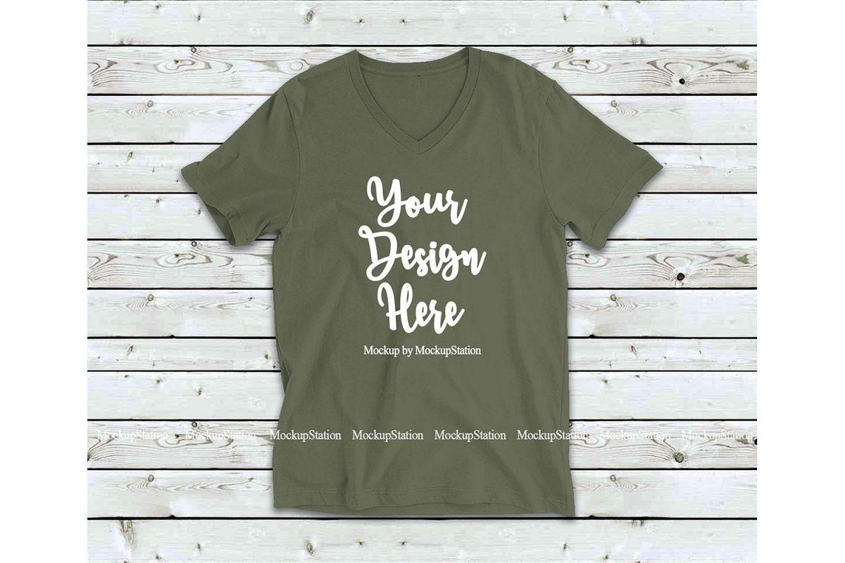 Military Green Shirt Mock Up, Bella Canvas 3005 V-Neck Tee example image 1