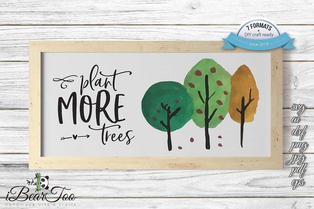 Plant More Trees SVG Clipart Watercolor, Vector Sketch example image 1