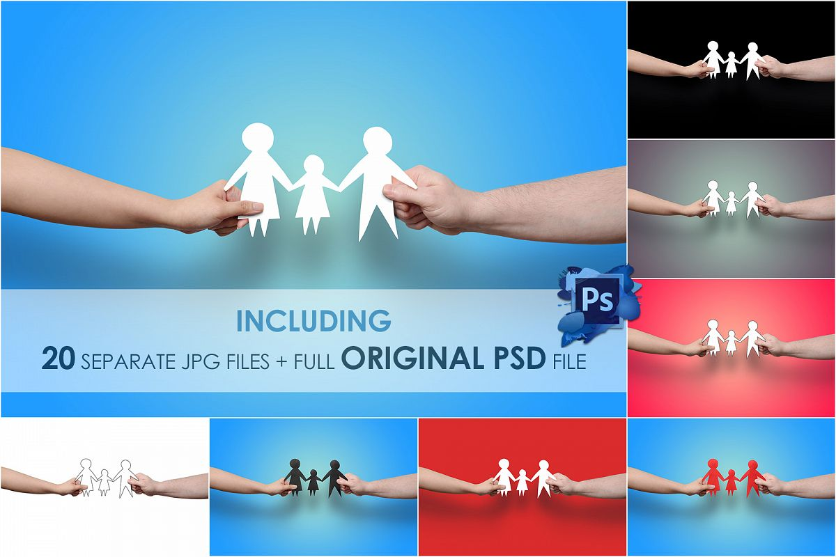 Hands Holding Family, Paper Cut Out - Stock Photo example image 1