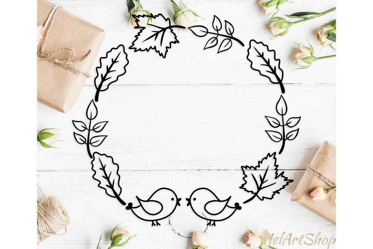 Fall leaves frame svg, fall wreath svg, autumn leaves svg example image 1