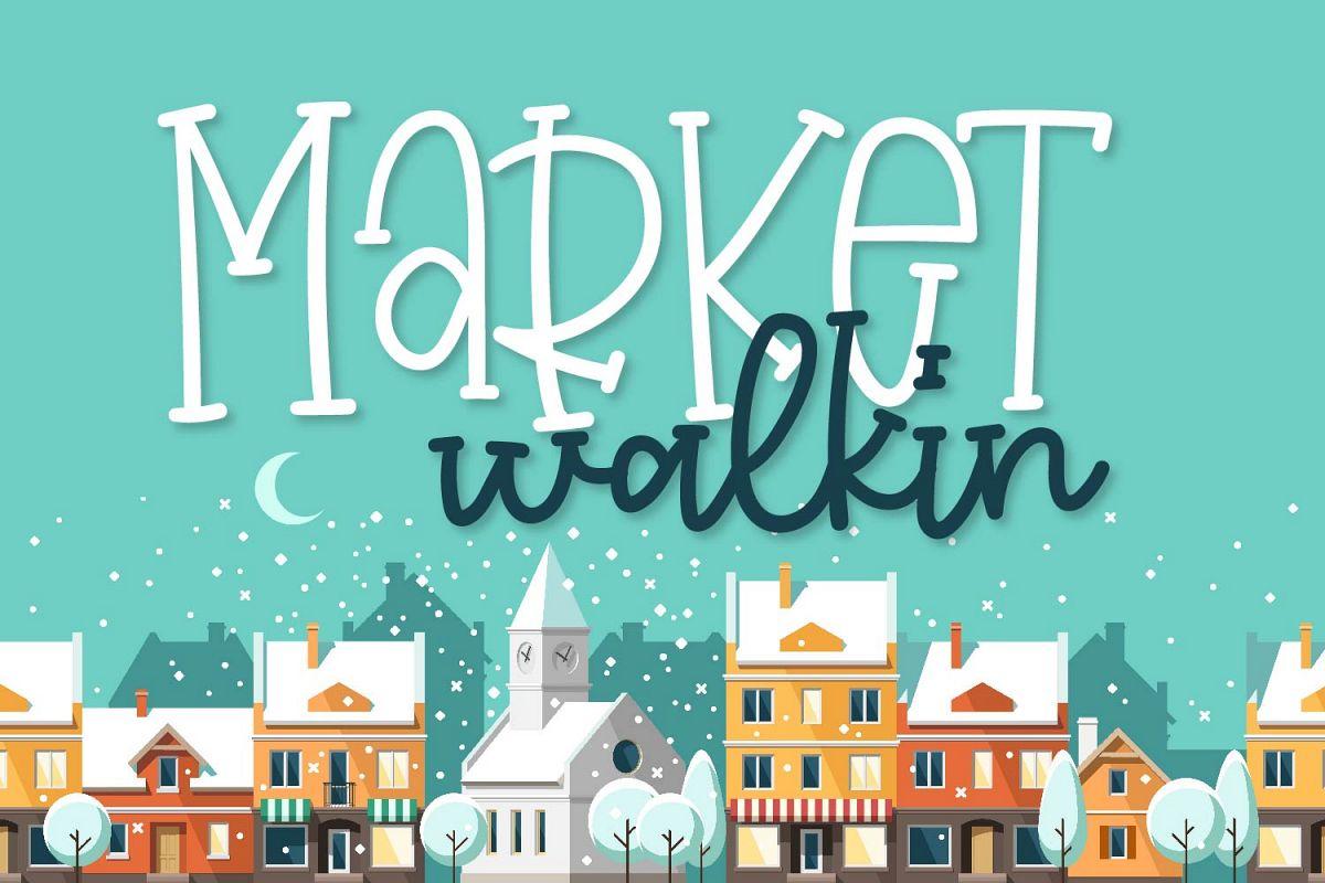 Market Walkin - A Fun Monoline Serif Duo example image 1