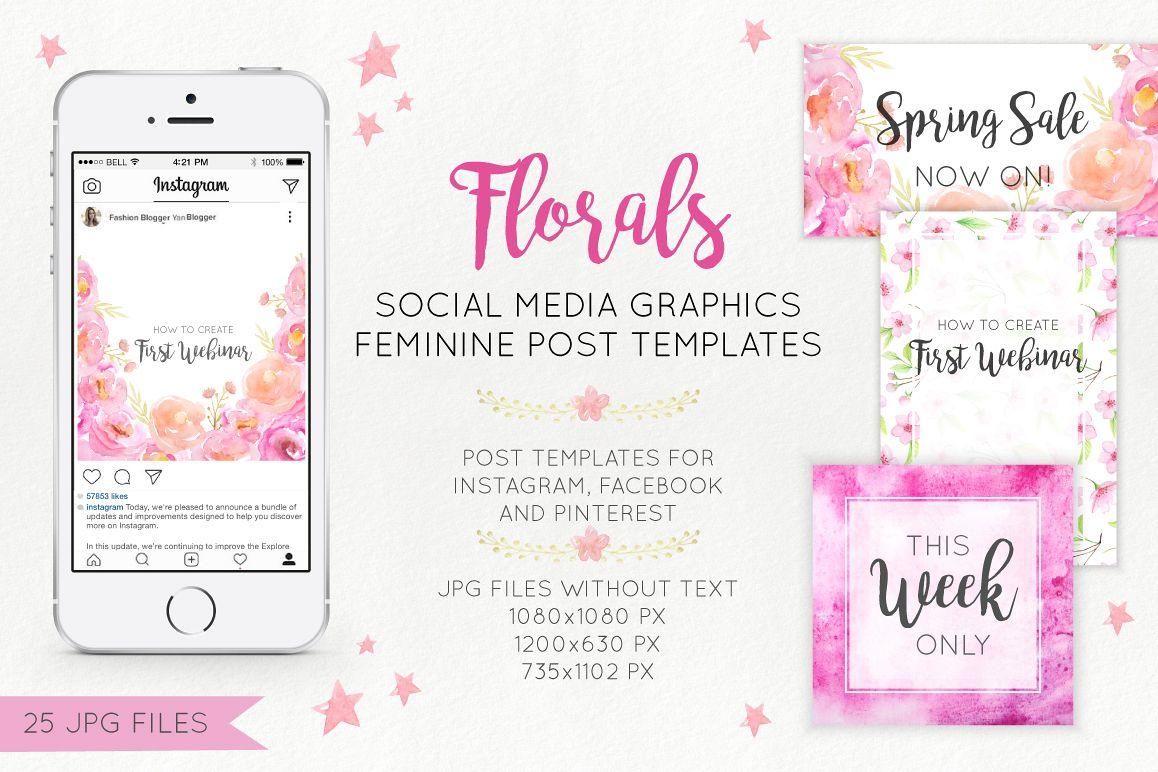 Florals Social Media Graphics example image 1