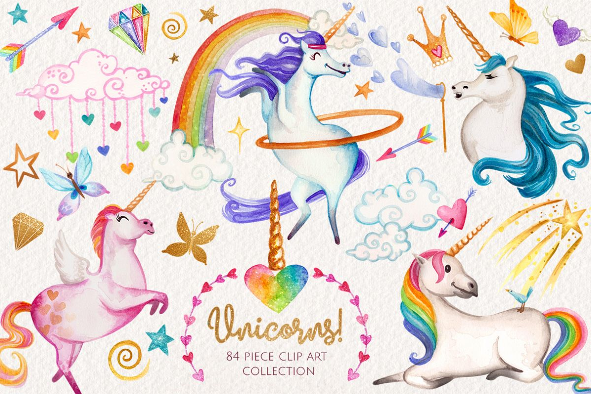 Watercolor Unicorns Graphics example image 1
