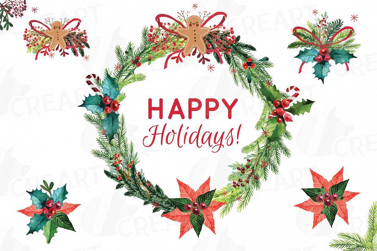 Christmas wreath Clip art, Holiday wreath, watercolor pine ...