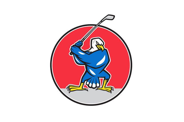 Blue Eagle Teeing Off Circle Cartoon example image 1