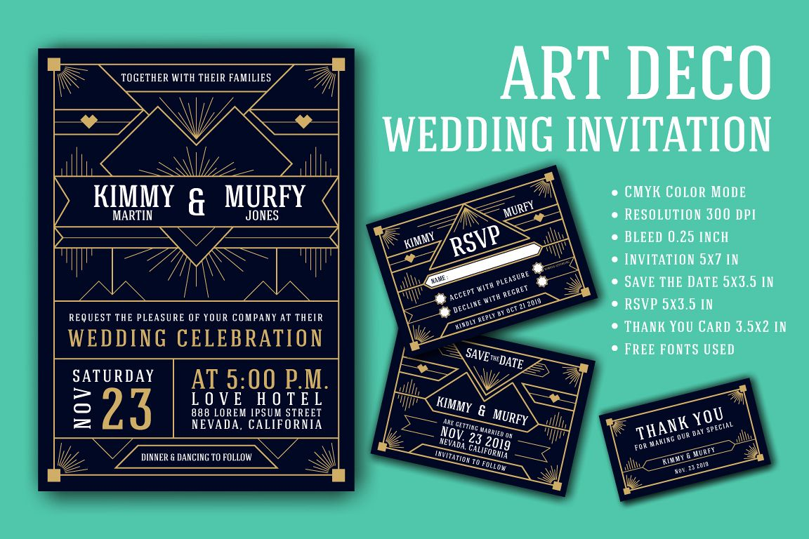 Art Deco Wedding Invitation Card Template example image 1