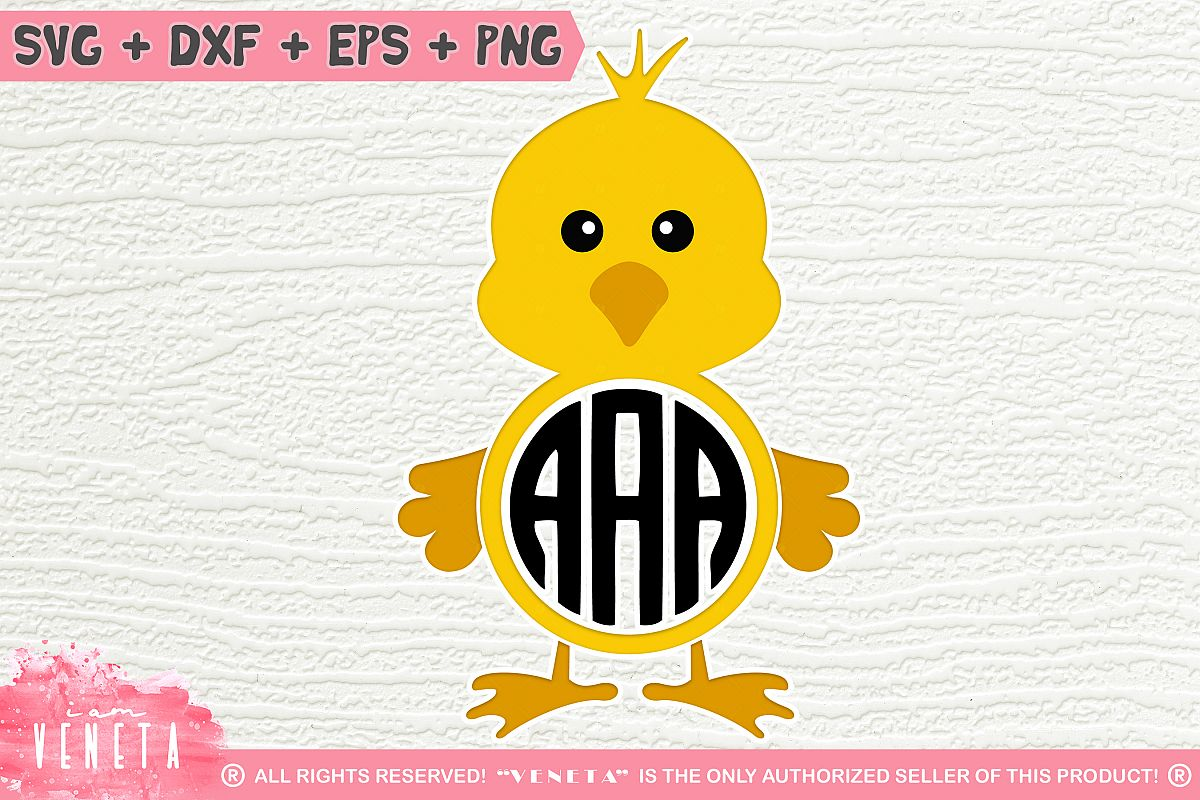 Chicken Monogram | Chick Monogram | SVG, DXF, Cutting Files example image 1