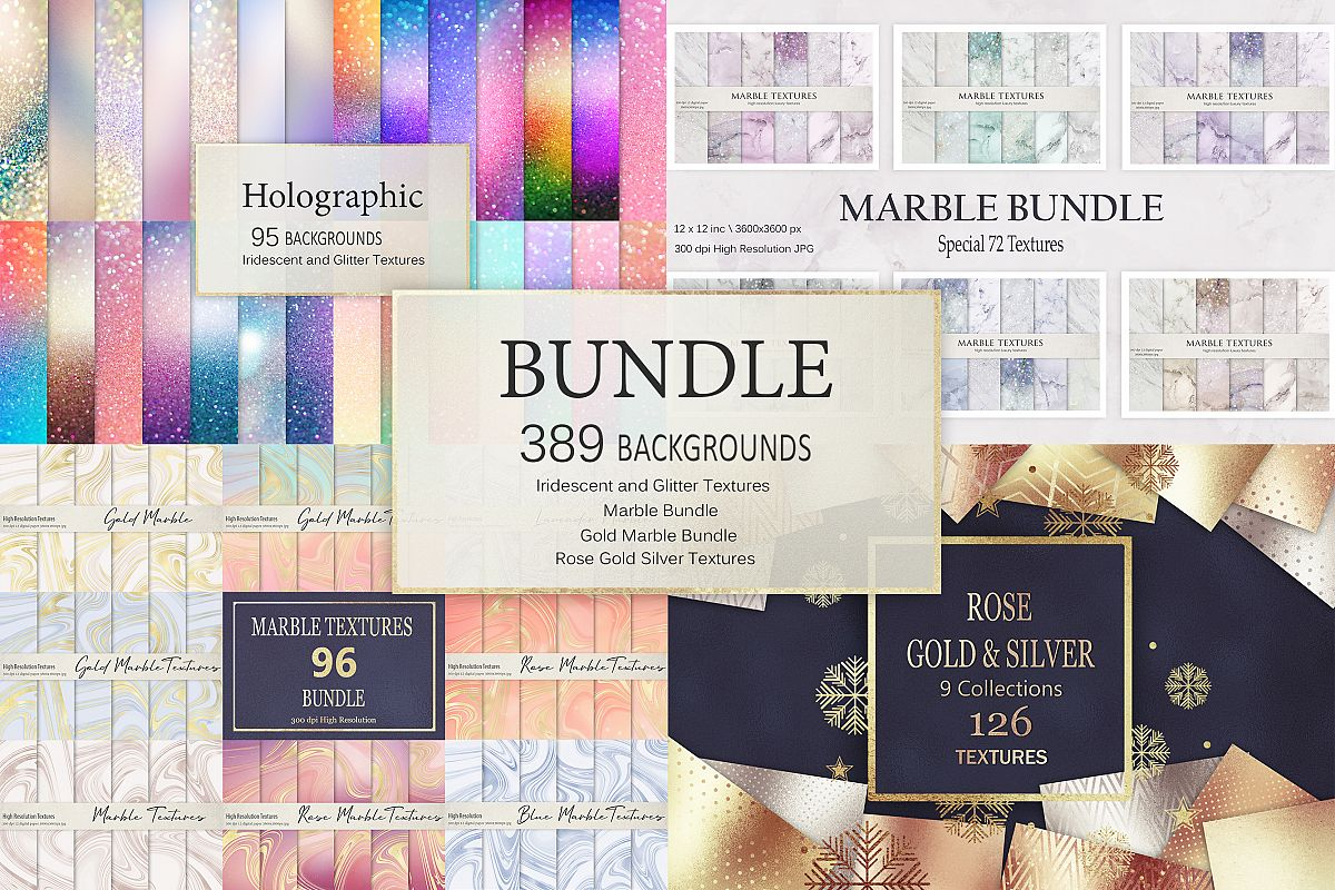 Gold Marble and Iridescent Glitter Textures BUNDLE example image 1