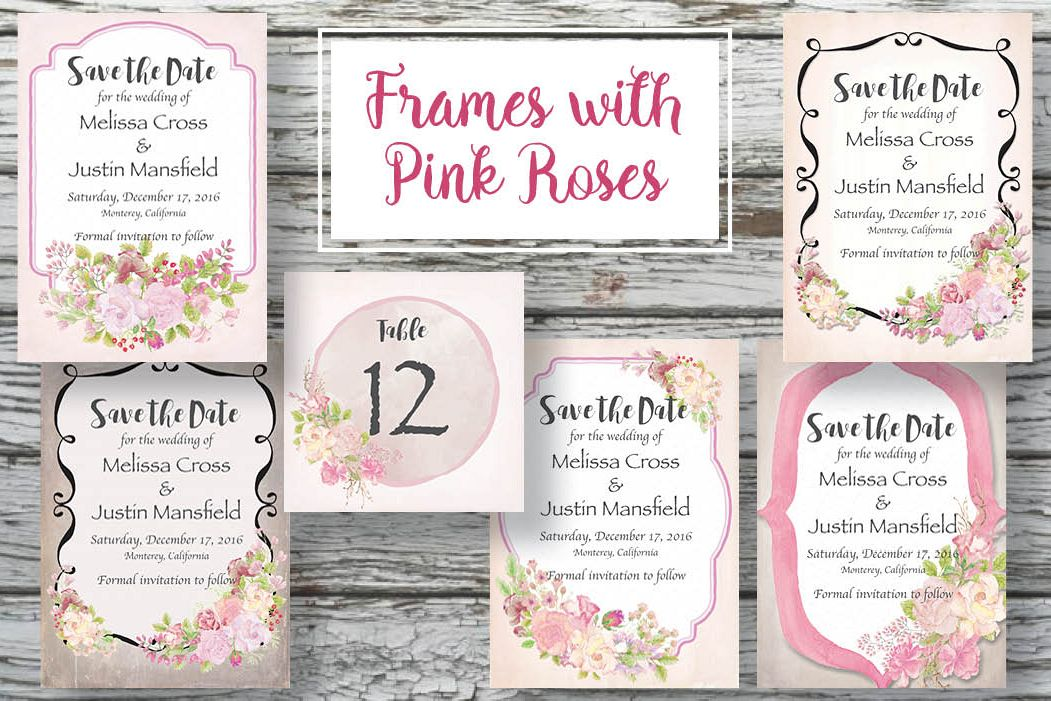 Frames with pink watercolor roses example image 1