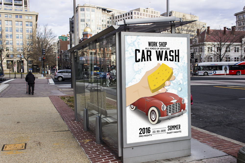Car Wash Bus Stop Ad Poster Template