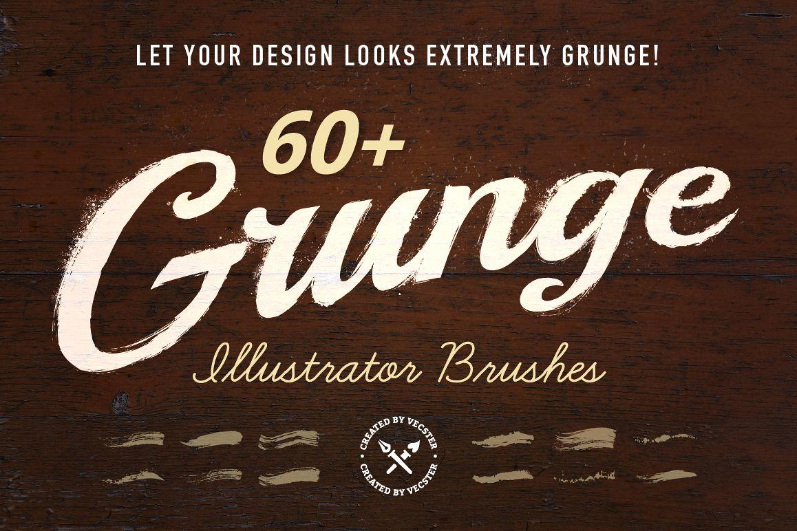 60+ Grunge Illustrator Brushes example image 1
