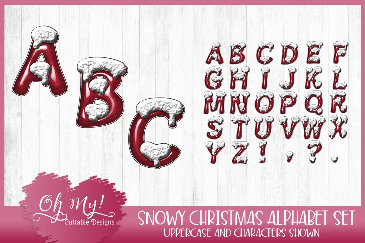 Snowy Christmas Alphabet Clipart Graphics Word Art