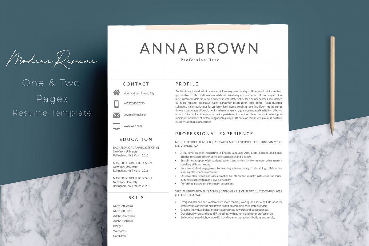 Resume Template CV Word