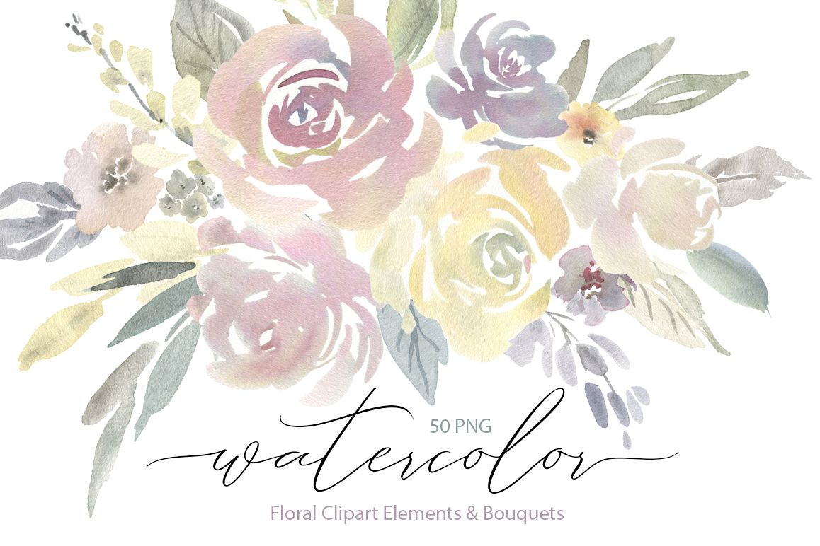 Watercolor Light Flowers Bouquets Roses Peonies PNG example image 1